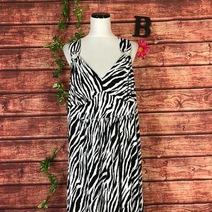 Tiana B. Dress Plus 2X Long Maxi Black White Zebra